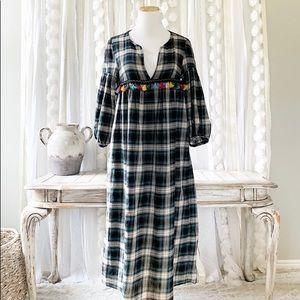 ZARA plaid tassels Fall Winter Midi Dress Size M